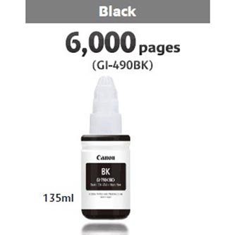 Canon originální ink GI-490 Bk, black, 6000str., 135ml, 0663C001, Canon PIXMA G1400, G2400, G3400