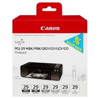 Canon originální ink PGI-29 MBK/PBK/DGY/GY/LGY/CO Multi pack