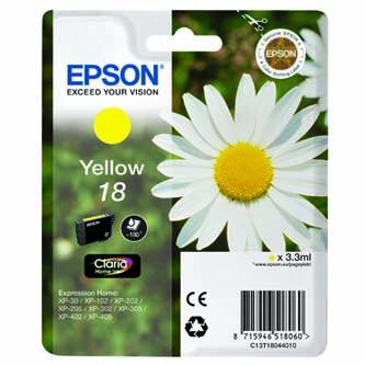 Epson originální ink C13T18044010, T180440, yellow, 3,3ml, Epson Expression Home XP-102, XP-402, XP-405, XP-302
