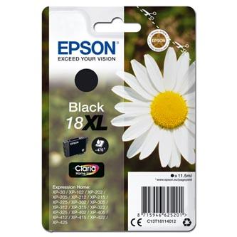 Epson originální ink C13T18114012, T181140, 18XL, black, 11,5ml, Epson Expression Home XP-102, XP-402, XP-405, XP-302