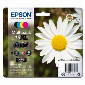 Epson originální ink C13T18164022, T181640, 18XL, CMYK, 3x6,6/11,5ml, Epson Expression Home XP-102, XP-402, XP-405, XP-302