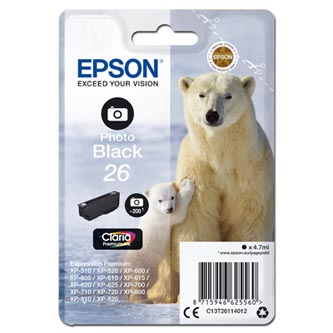 Epson originální ink C13T26114012, T261140, photo black, 4,7ml, Epson Expression Premium XP-800, XP-700, XP-600