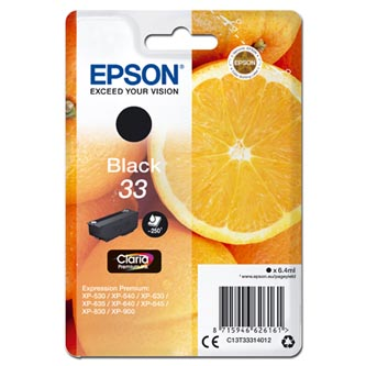 Epson originální ink C13T33314012, T33, black, 6,4ml, Epson Expression Home a Premium XP-530,630,635,830
