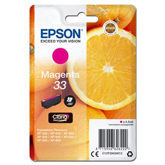 Epson originální ink C13T33434012, T33, magenta, 4,5ml, Epson Expression Home a Premium XP-530,630,635,830