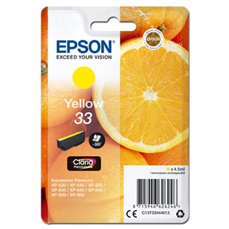 Epson originální ink C13T33444012, T33, yellow, 4,5ml, Epson Expression Home a Premium XP-530,630,635,830