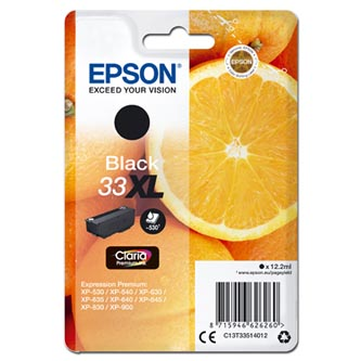 Epson originální ink C13T33514012, T33XL, black, 12,2ml, Epson Expression Home a Premium XP-530,630,635,830