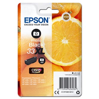 Epson originální ink C13T33614012, T33XL, photo black, 8,1ml, Epson Expression Home a Premium XP-530,630,635,830