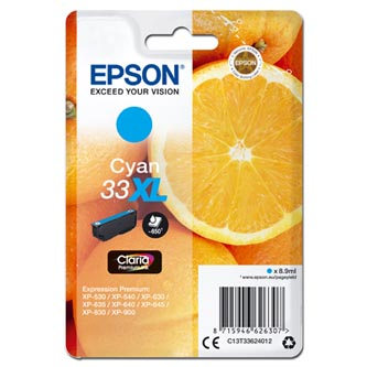 Epson originální ink C13T33624012, T33XL, cyan, 8,9ml, Epson Expression Home a Premium XP-530,630,635,830