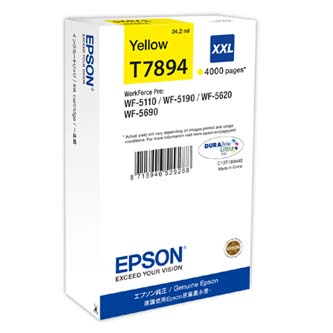 Epson originální ink C13T789440, T789, XXL, yellow, 4000str., 34ml, 1ks, Epson WorkForce Pro WF-5620DWF, WF-5110DW, WF-5690DWF