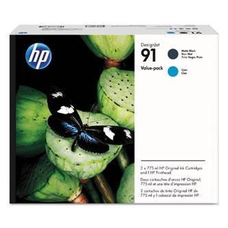 HP originální tisková hlava P2V35A, HP 91, Matte Black/Cyan, 775ml, HP