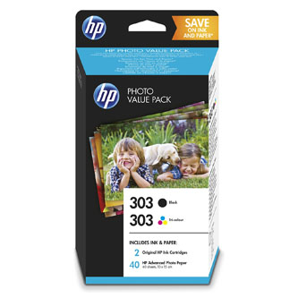 HP original ink Z4B62EE, HP 303 + paper, C/M/Y/K, HP