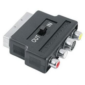 Audio/video Redukce, SCART M-Cinch 3x M + S-video F, 0, černá, Logo, přepínač in/out