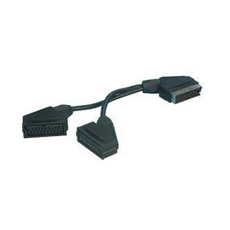 Audio/video Rozdvojka, SCART M-Scart 2x F, 0.2, černá, Logo, blistr, s kablíkem