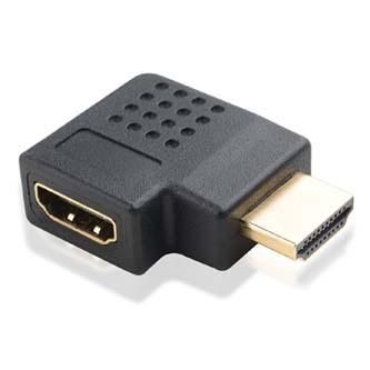 Audio/video Redukce, HDMI M-HDMI F, 0, černá, Logo, zlacené konektory,lomená vpravo