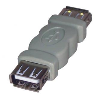 Spojka (2.0), USB A F- USB A F, 0m, šedá, Logo, blistr