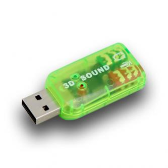 USB (2.0) Redukce, USB-Audio, USB A (2.0) M-Jack (3,5mm) 2x F, 0, zelená, USB zvuková karta