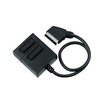 Kabel Scart M- Scart 2x F, SCART, 0.5m, černý, rozdvojka