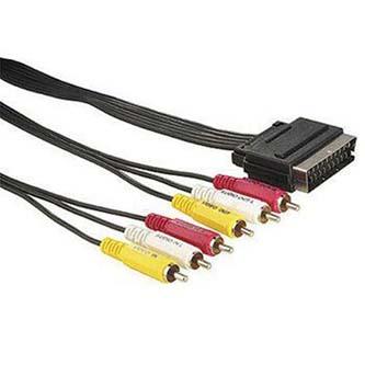 Kabel Scart M- Cinch 6x M, 1.5m, černý