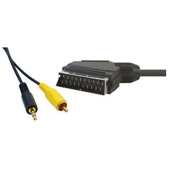 Kabel Scart M- Cinch + Jack (3,5mm) M, 1.5m, černá