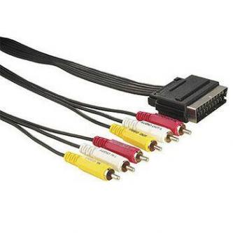 Kabel Scart M- Cinch 6x M, 5m, černá