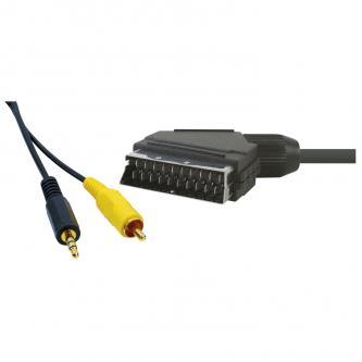 Kabel Scart M- Cinch + Jack (3,5mm) M, 5m, černá