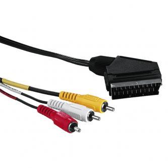 Kabel Scart M- Cinch 3x M, 5m, přepínač IN/OUT, černá