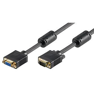 Kabel VGA (D-sub) M- VGA (D-sub) F, 3m, zlacené konektory, stíněný, černá
