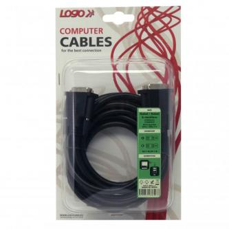 Kabel DVI (24+1) M- DVI (24+1) M, DVI-D (dual link), 3m, stíněný, černá, Logo, blistr