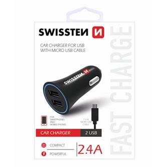 Micro USB auto nabíječka, 12V (autozapalovač), 5V, 2400mA, nabíjení mobilních telefonů a GPS, SWISSTEN, černá, odnímatelný USB kab