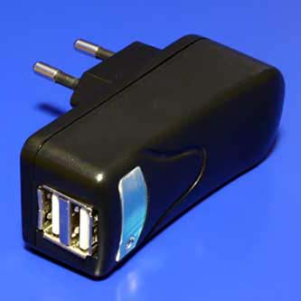 USB nabíječka, 220V (el.síť), 5V, 2000mA, nabíjení mobilních telefonů a GPS