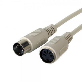 Kabel ke klávesnici 5 pinový, 5 pin M- 5 pin F, 5m, prodlužovací, šedý, Logo