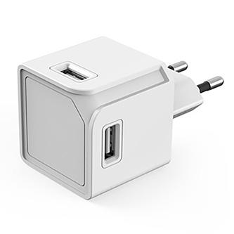 USB rozbočovač 240V, CEE7 (vidlice)-POWERCUBE, 0.1m, USBCUBE ORIGINAL, bílý, POWERCUBE, 4x USB A port, kompaktní