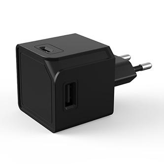 USB rozbočovač 240V, CEE7 (vidlice)-POWERCUBE, 0.1m, USBCUBE ORIGINAL A+C, černá, POWERCUBE, 2x USB A port + 2x USB C port, kompak