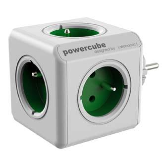 Rozbočovací zásuvka 240V, CEE7 (vidlice)-POWERCUBE, 0.1m, ORIGINAL, zelená, POWERCUBE, 5 zásuvek, dětské pojistky