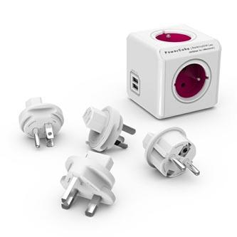 Rozbočovací zásuvka 240V, CEE7 (vidlice)-POWERCUBE, 0.1m, REWIRABLE USB, fialová, POWERCUBE, 2x USB port, 4 zásuvky, vyměnitelná p