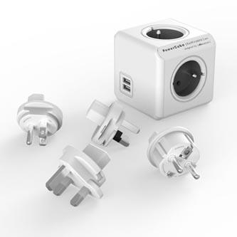 Rozbočovací zásuvka 240V, CEE7 (vidlice)-POWERCUBE, 0.1m, REWIRABLE USB, šedá, POWERCUBE, 2x USB port, 4 zásuvky, vyměnitelná prou