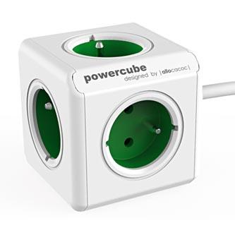 Síťový kabel 230V prodlužovací, CEE7 (vidlice)-POWERCUBE, 1.5m, EXTENDED, zelený, POWERCUBE, 5 zásuvek, dětské pojistka