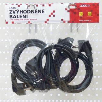 Síťový kabel 230V napájecí, CEE7 (vidlice)-C13, 2m, VDE approved, černý, Logo, 5 pack (economy), cena za 1 kus