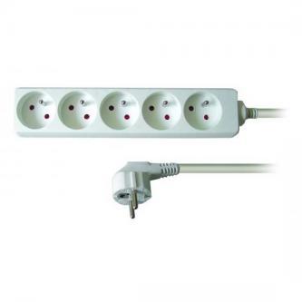 Síťový kabel 230V prodlužovací, CEE7 (vidlice)-zásuvka 5x, 3m, VDE approved, černý