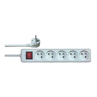 Síťový kabel 230V prodlužovací, CEE7 (vidlice)-zásuvka 5x, 5m, VDE approved, bílá, s vypínačem