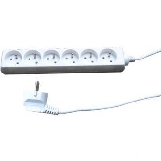Síťový kabel 230V prodlužovací, CEE7 (vidlice)-zásuvka 6x, 5m, VDE approved, bílá