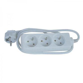 Síťový kabel 230V prodlužovací, CEE7 (vidlice)-zásuvka 3x, 10m, bílá