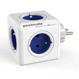 Rozbočovací zásuvka 240V, CEE7 (vidlice)-POWERCUBE, 0.1m, ORIGINAL, modrá, POWERCUBE, 5 zásuvek, dětské pojistky