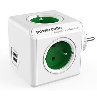 Rozbočovací zásuvka 240V, CEE7 (vidlice)-POWERCUBE, 0.1m, ORIGINAL USB, zelená, POWERCUBE, 4 zásuvky, 2xUSB porty