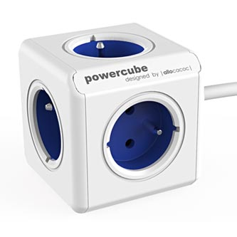 Síťový kabel 230V prodlužovací, CEE7 (vidlice)-POWERCUBE, 1.5m, EXTENDED, modrý, POWERCUBE, 5 zásuvek, dětské pojistka