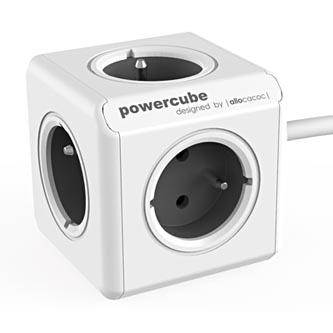 Síťový kabel 230V prodlužovací, CEE7 (vidlice)-POWERCUBE, 1.5m, EXTENDED, šedý, POWERCUBE, 5 zásuvek, dětské pojistka