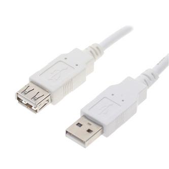 Kabel USB (2.0), USB A M- USB A F, 0.3m, černý/bílý, Logo
