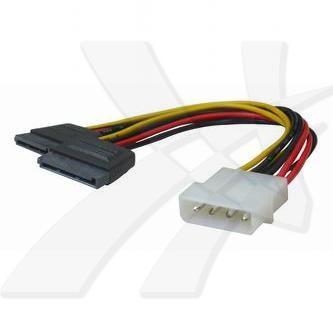 """Kabel k hardisku S-ata napájecí, DC 5,25"""" M- DC SATA 2x M, 0.2m, rozdvojka, color, Logo"""