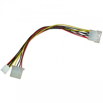 """Kabel k hardisku napájecí rozdvojka, DC 5,25"""" M- DC 5,25"""" F + 3,5"""" F, 0.2m, color"""