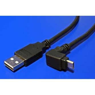 Kabel USB (2.0), USB A M- USB micro M, 1.8m, lomený 90°, černý